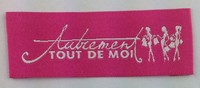 chinese clothes brands red tout satin woven label