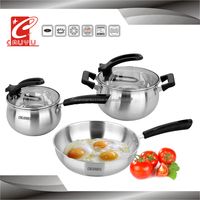 Set of super capsule bottom stainless cookware pan