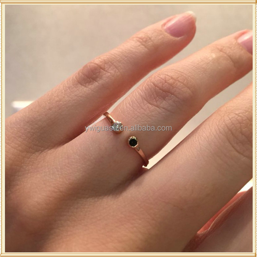 Black and white open 2 gram gold diamond ring price for women fashion ring