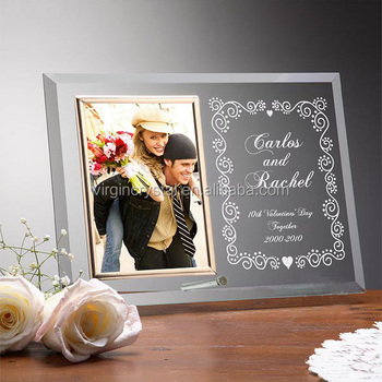 Wholesale curved glass crystal love photo frame for wedding gift items