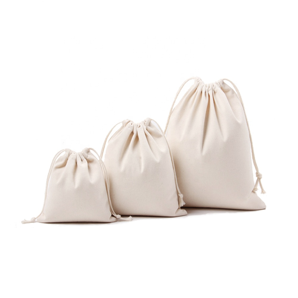 Wholesale Custom Small Canvas Cotton Muslin Drawstring Bags