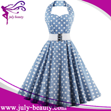 Vintage 50s Halter Neck Dress Polka dots Swing Dress Rockabilly Retro PinUp Dress
