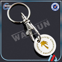 2016 metal euro shopping trolley coin chain holder keyring