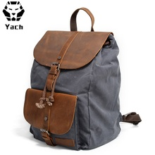 Top quality new design waxed canvas leather trim laptop backpack back pack bagpack bag rucksack