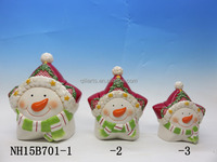 ceramic star shape snow man image sugar jar