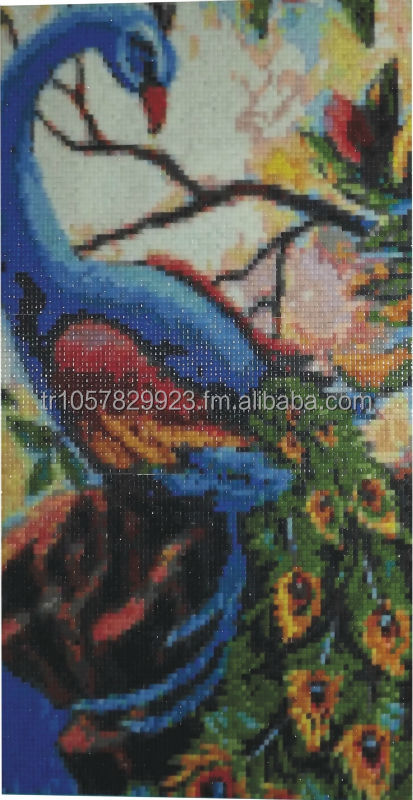 BLUE PEAFOWL GLASS MOSAIC OIL PAINTINGS