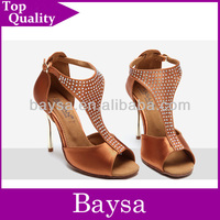 Dancing shoe New Arrival TAN color plating heel top crystal latin ballroom dance shoes BL681
