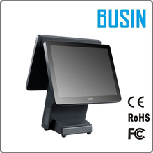 "15"" cheap dual touch screen windows system pos machine restaurant ordering system cash register"