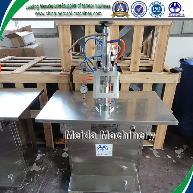 Semiautomatic compressed air filling machine for spray can / propellant filler for aerosol cans