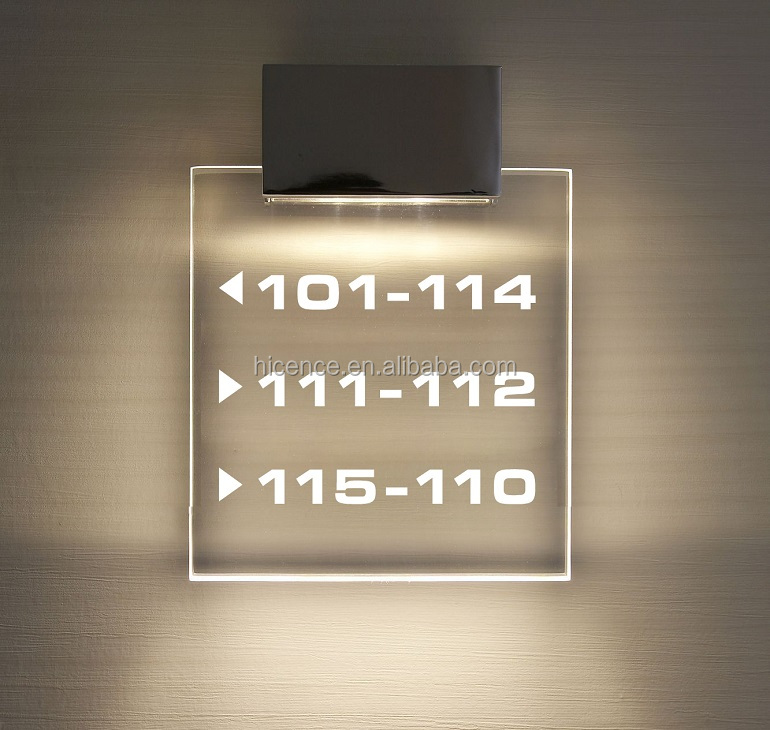 Transparent Acrylic LED Backlit Customized Hotel Room Number Directional Sign