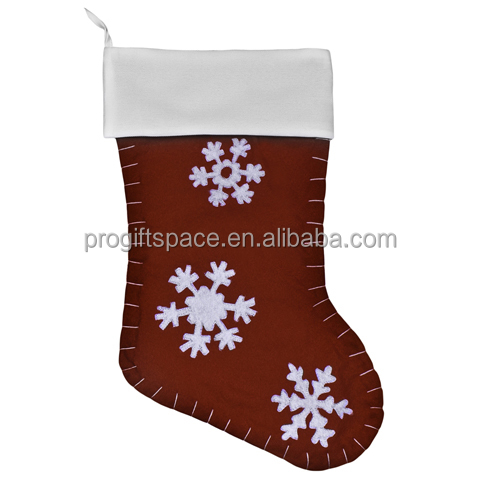 high quality fashion new design creative polyester felt snowflake christmas gift stocking holders manufacturer in China OEM ODM