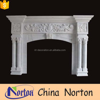 Hand carved indoor used marble fireplace mantel NTMF-F001Y