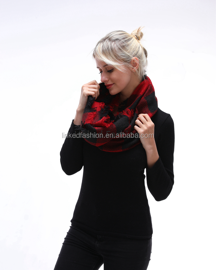 2020 Lady Women Fall Winter Infinity Blanket Oversized Shawl Plaid blanket scarf tartan plaid infinity scarf for gift