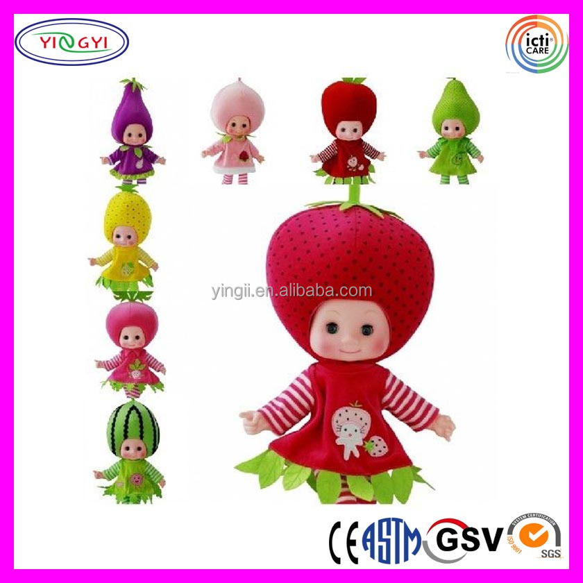 A752 Plastic Head Vegetables Fruit Plush Toy Stuffed Doll Birthday Baby Gift Fruit Doll