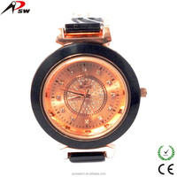 2015 new rhinestones ceramic artwork custom man wrist watch alloy watch