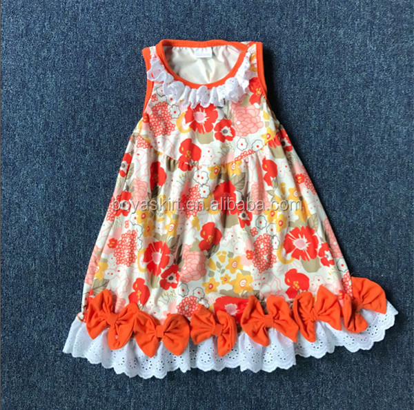 Kids Clothing European Style Flower Grils Party Dresses Bowknots Kids Girls Tiered Dress Toddler Girls Dress Wear