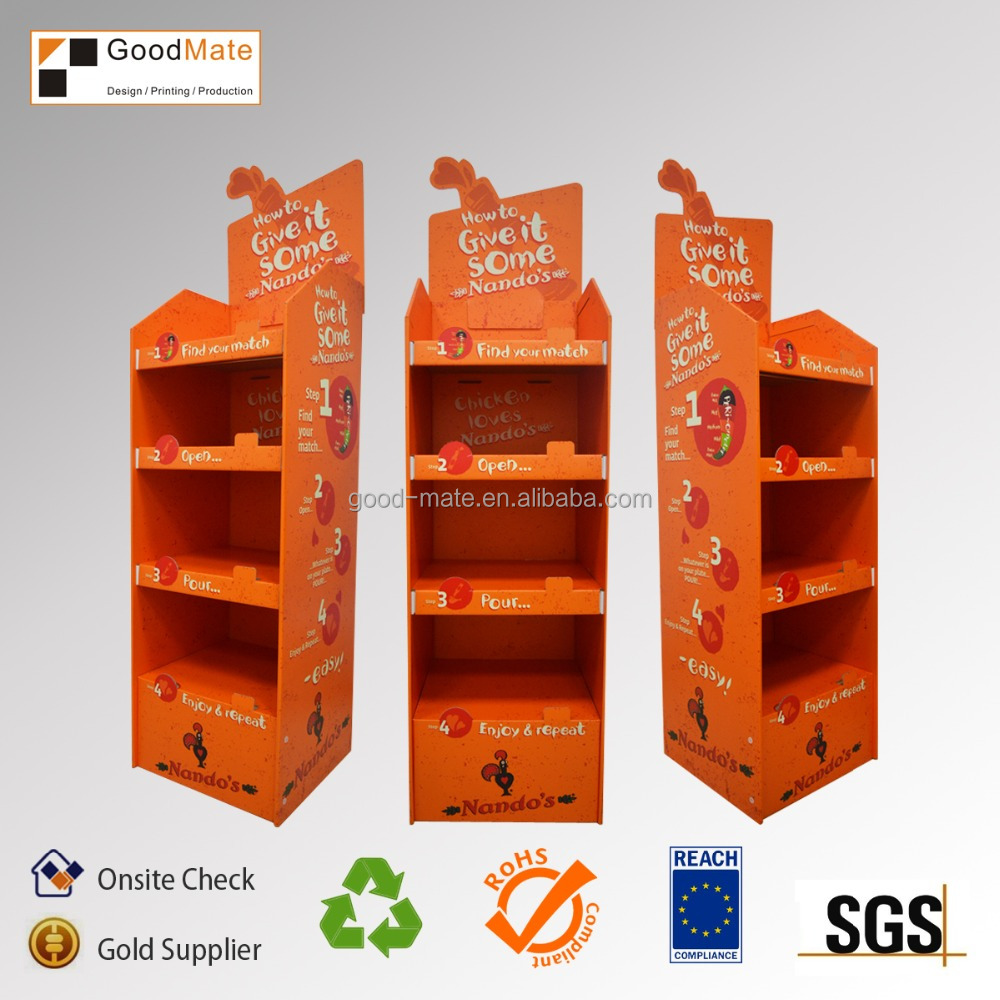 china supplier new product cardboard retail 4 tier floor display stand printing