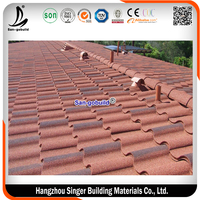 Colored Glazed Steel Roof Material and Sun Stone Coated Metal Roof Tiles