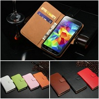 Cross-stitch cell phone case for Samsung S5 I9600 genuine leather card bill slots stand all right