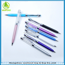 Promotional mini advertising metal ballpoint pen with crystal