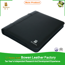 a4 hanging file folder for promotion / business genuine leather file folder / a4 portfolio folder with calculator holder