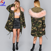 2018 Latest camouflage coat designs high quality customized oversize women winter coat with hooded fur collar