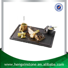 Handmade Wholesale Natural Edge 30*20*0.5cm Rectangle Grooved Black Slate Steak Plate Unique Black Slate Serving Tray