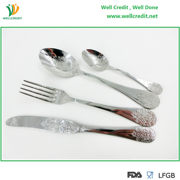 High Quality Embossed 16 pcs 430SS Cutlery Set For 4 person Using Flatware Set