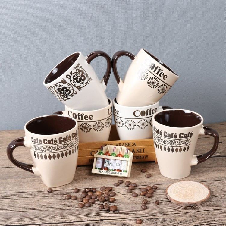 2017 Christmas Gift Coffee Mug With Wood Cover Ceramic Cup With Lid And Spoon