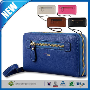 C&T Wallet Purse Zipper Case with credit card slots cheap leather handbags for iPhone 6s