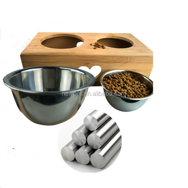 Quality primacy best selling bamboo,stainless steel pet feeder elevated wooden dog bowl