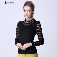 elegant shirt designs for black long sleeve lace tops woman top