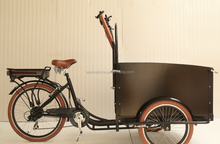 Holland adult cargo e bike tricycle cargo bike with wooden box bakfiet