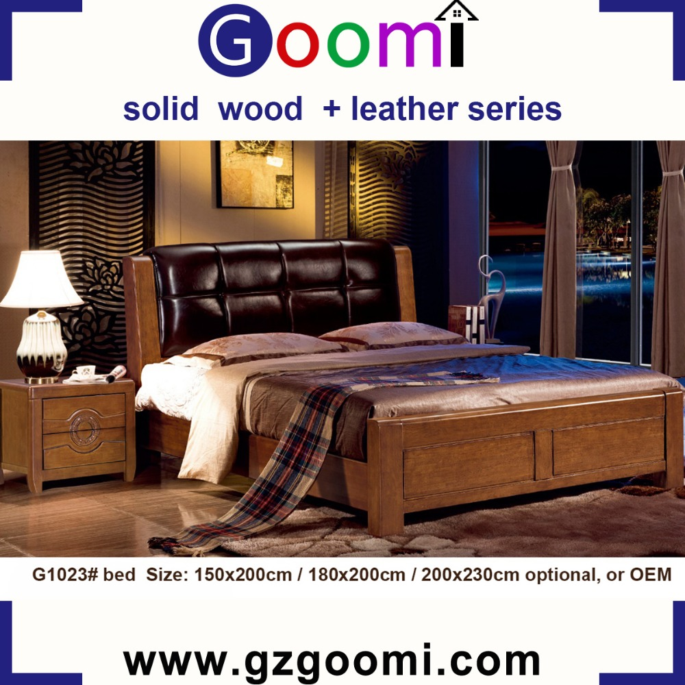 Factory Supply Home Use GanZhou Goomi Bedroom Furniture Solid Wood + PU or Genuine Leather pictures of double bed