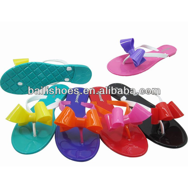 Have Stocks PVC jelly lady slipper mix color with bow fancy design 2013