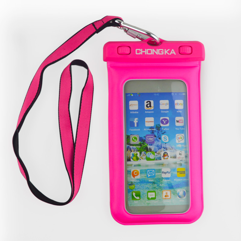 China Factory Night Light Luminous mobile phone waterproof bag for cell phone 6 inch