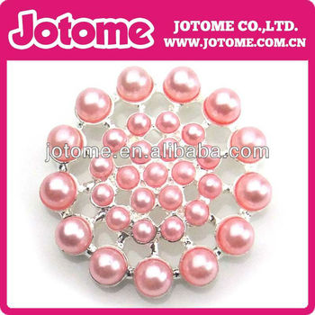 Wholesale Pink Pearl flat back button , wedding pearl rhinestone button for wedding