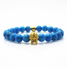 Blue Scrub Stone Beads Bracelet Pharaoh Head The King Of Egypt Men Elastic Rope Charm Bracelets