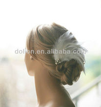 Beautiful White Hair Feather Extensions Bridal Headpiece