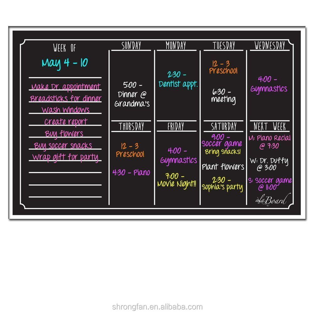 Weekly Monthly Calendar Board Black Fluorescent Planner Dry Erase Magnet Office