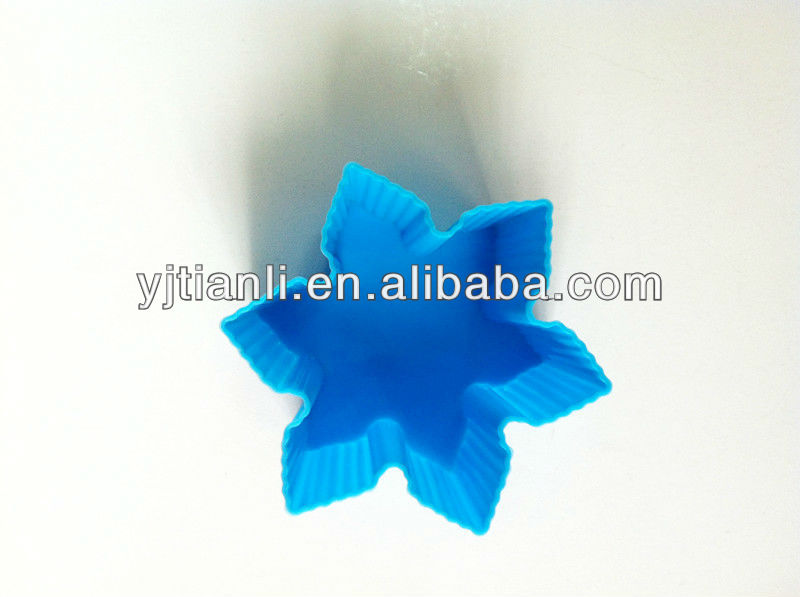 Food grade blue silicone snowflake halloween custom-made cake mold