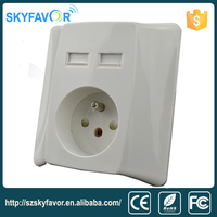 High Quality multi functional new design 2.1A wall double french socket electric plug and usb socket wall europe