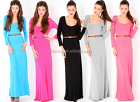 2014 Pastel Women Muslim Maxi Dress with Long Sleeves LC037