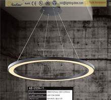 new design Acrylic Material LED pendant lamp round ring light with black color