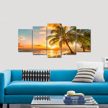 Sunset on Sea Canvas Printing Art/summer Palm Tree Canvas Wall Art/beach Poster for Living Room