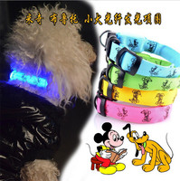 Adjustable Lovely Pet Dog Flashing Safety Nylon Night Glow Collar LED Lights