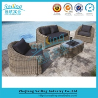 Garden supplies outdoor modern salon furniture 2pcs half round sofa