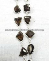 Smoky Quartz Stones Bezeled Chain Indian Jewellery
