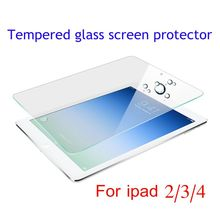 custom new products Ultra thin Transparent Tempered glass High clear Screen protector for ipad 2/3/4 retail packaging