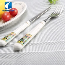 High quality products porcelain handle kitchen edible fork and knife cutlery